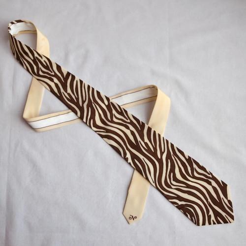 Hedvábná kravata - zebra hnědo-béžová