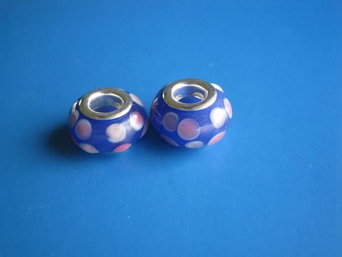 Korálky 2ks-modra s puntiky