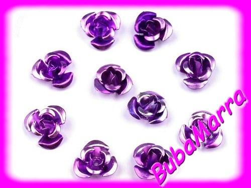 ~20ks~ Růžička Ø10mm kovová EXCELLENT fialová