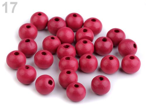 Dřevěné korálky Ø10mm (cca 35ks) - růžová tm.