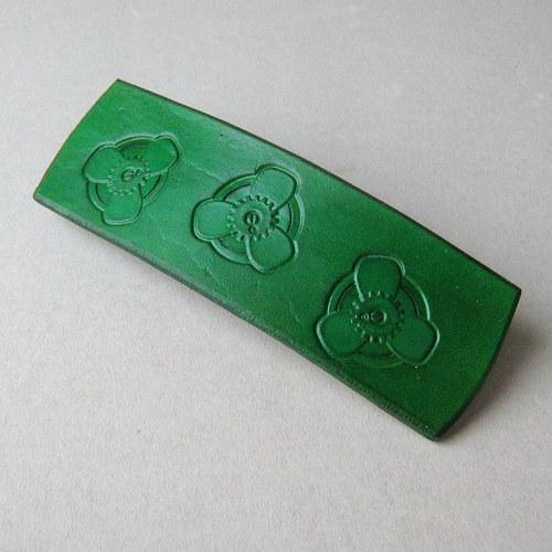 Steampunk spona do vlasů zelená