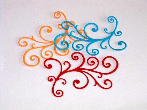 Rostlinný ornament jemný 3 ks - barva podle přání