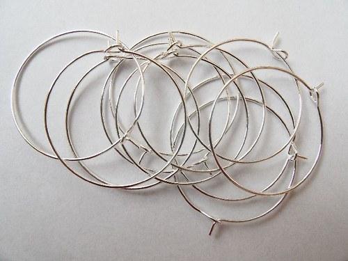 Náušnicové kroužky postříbřené, 30 mm bal. 10ks