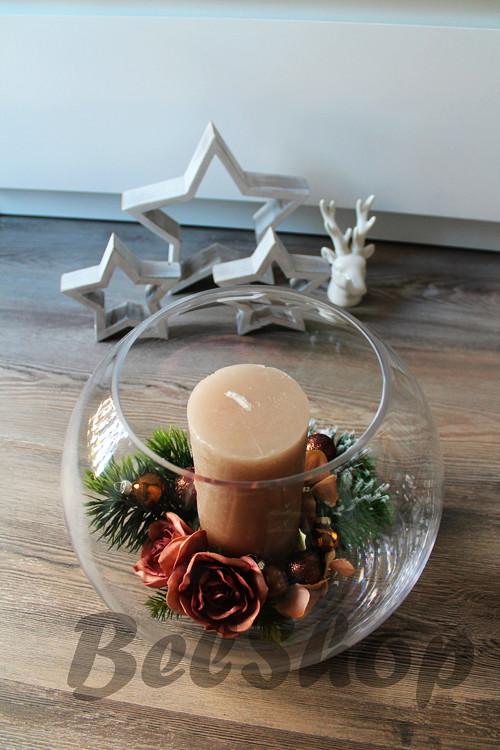 Vánoční svícen v kouli hnědý