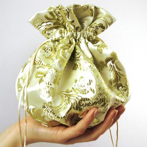 Svatební pompadůrka - zlatý brokát - STŘEDNÍ