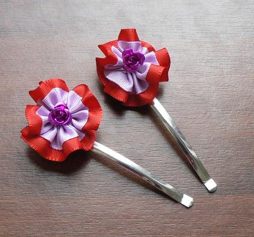 Sponky kytičkové červeno-fialové