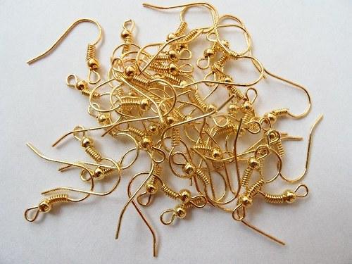 Afroháčky, zlatá barva, bez niklu, balení 20 ks