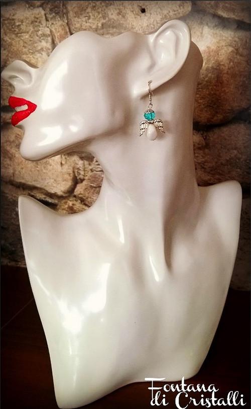 Náušnice Andělíček – bílá s mentolem