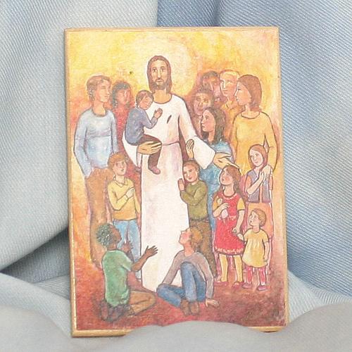 Obrázek na dřevě 7x10cm - Ježíš a děti