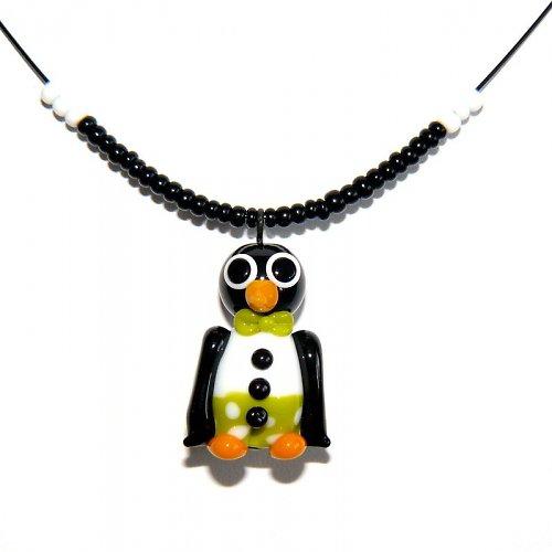 Tučňák v zelených kalhotech - vinutá perle