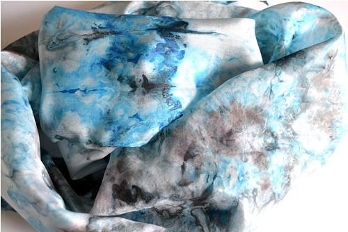 Elegantní tyrkysová s šedou - hedvábná šála 130x35
