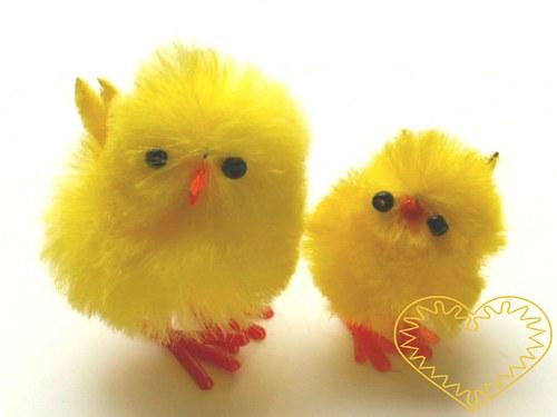 Žluté kuře větší / kuřátko ze žinylky - 1 ks