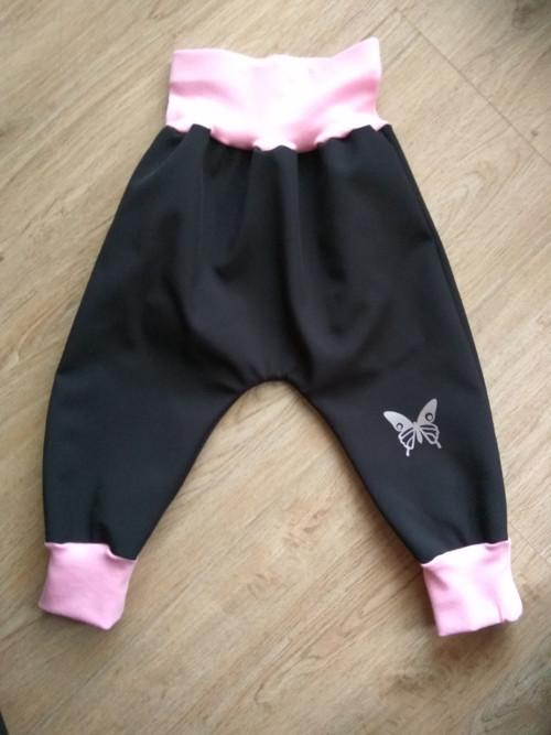 dětské zimní softshellové (turky) -černá s růžovou