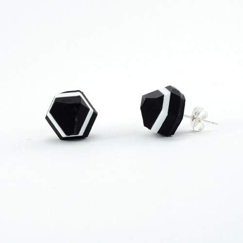 Náušnice krystal black/traffic white