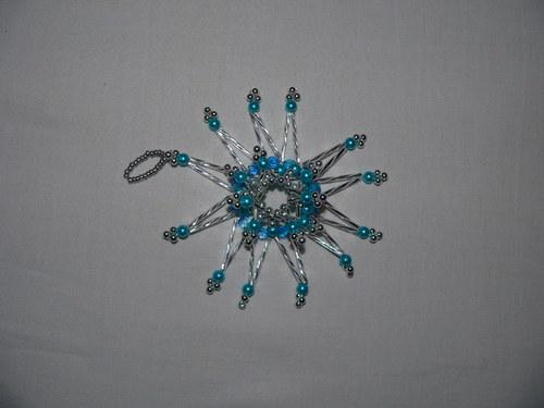 Modro - stříbrná plastická hvězda