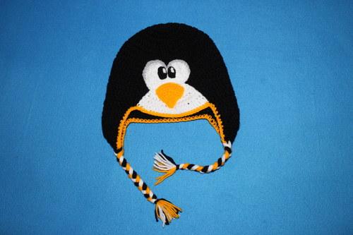 háčkovaná čepice tučňák