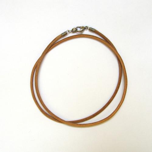 Guľatá kožená šnúrka prírodná 2,5mm - 52cm