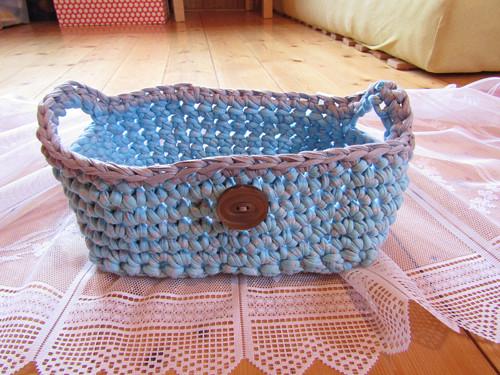 modrošedý košík ze špagátů+ zdarma mýdlíčko