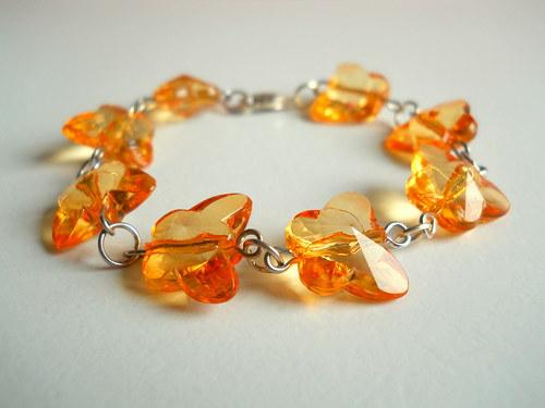 Motýlkový náramek- oranžový