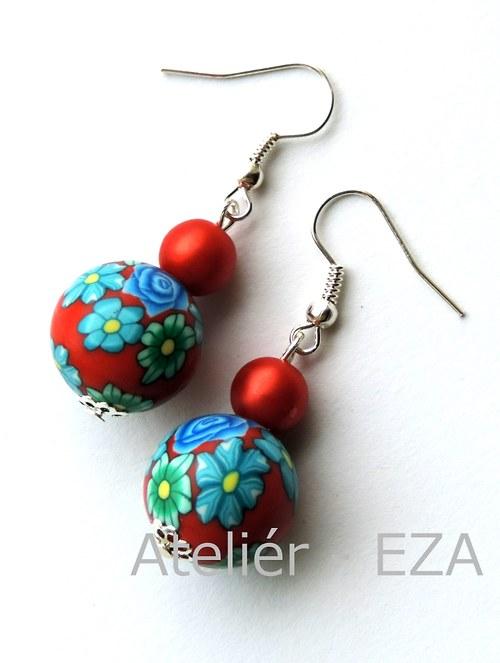 Květované náušnice z fima - červená+modrá SLEVA