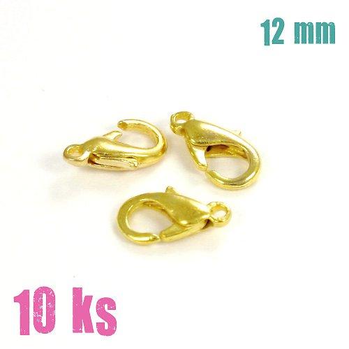 Zapínání - karabinka 12 mm zlatá 10ks