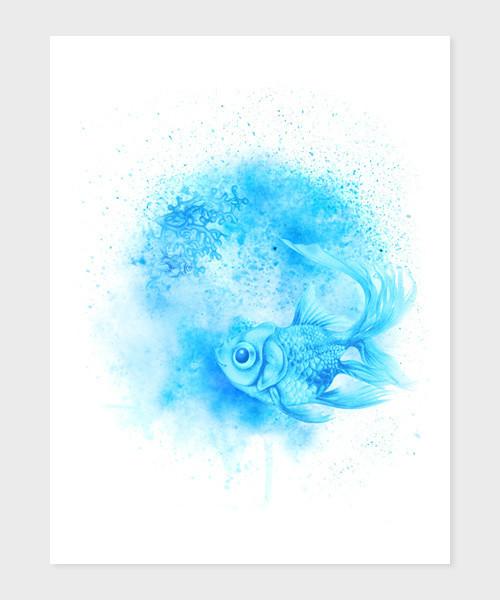 Rybička v oceánu A5,A4 reprodukce autorské kresby