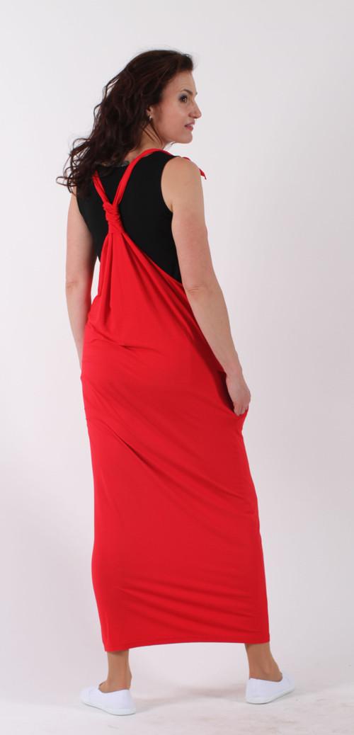 Červená šatová sukně