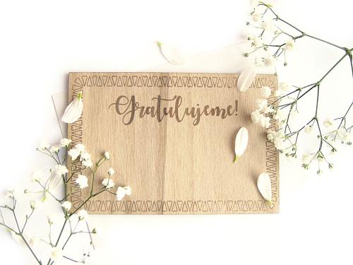 Dřevěné svatební blahopřání