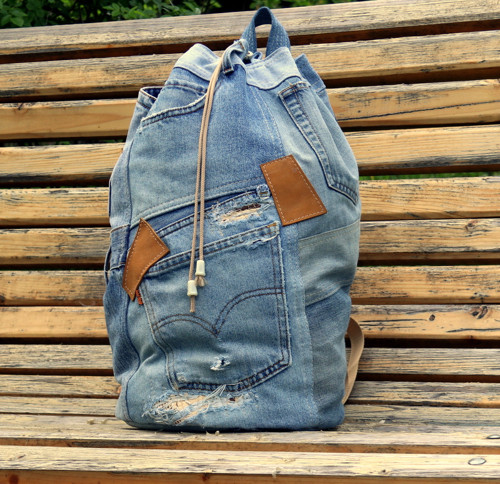 Patchwork Upcycled Denim Backpack with Pockets