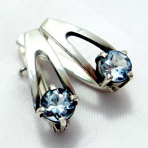 Náušnice «Setkání» - stříbro 925, modrý topaz