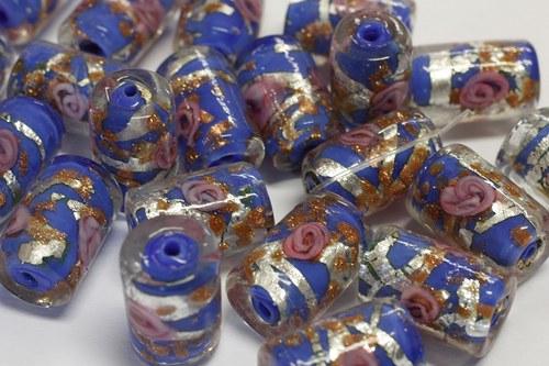 Vinuté perle, váleček s růžičkou, 1 kus