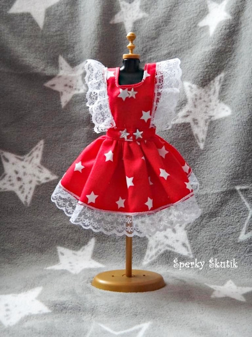 SA0077 - Červenobílé zástěrkové šaty s hvězdičkami
