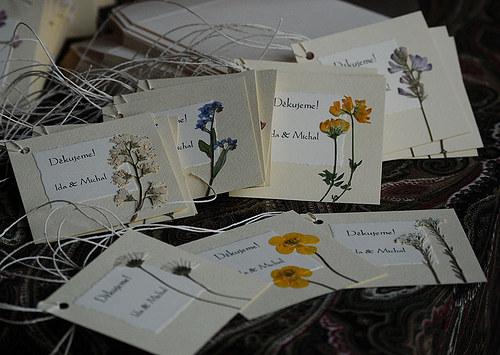 KVITNÚCA LÚKA visačky/poďakovania na svadbu