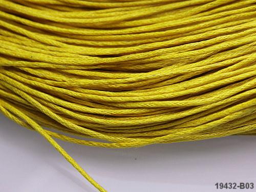 19432-B03 Voskovaná šňůrka žlutá á 1m