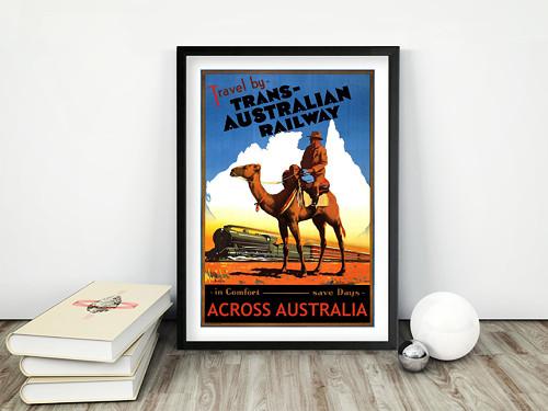 Vintage plakát Trans-Australian Railway