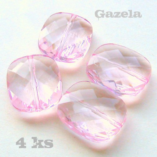 Růžové ploškované oválky - 4 ks