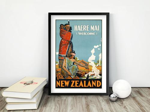 Vintage plakát New Zealand Haere Mai