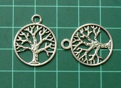 Strom stříbrný, v kroužku - přívěsek, 2ks