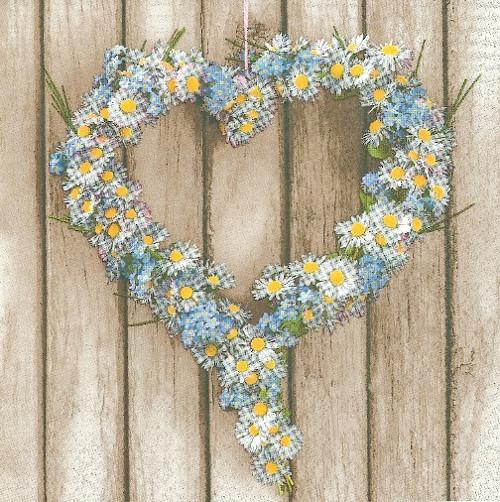 Ubrousek - srdce ze sedmikrásek a pomněnek