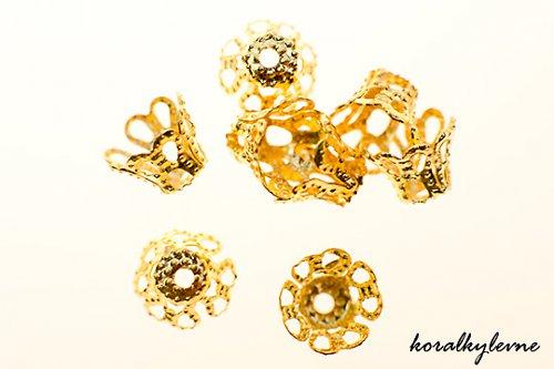 Kaplíky filigránové zlaté 6mm 10ks