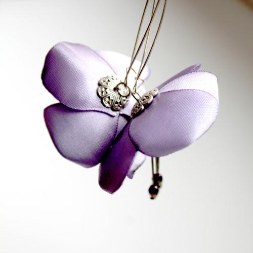Náušnice: Světle fialové květy
