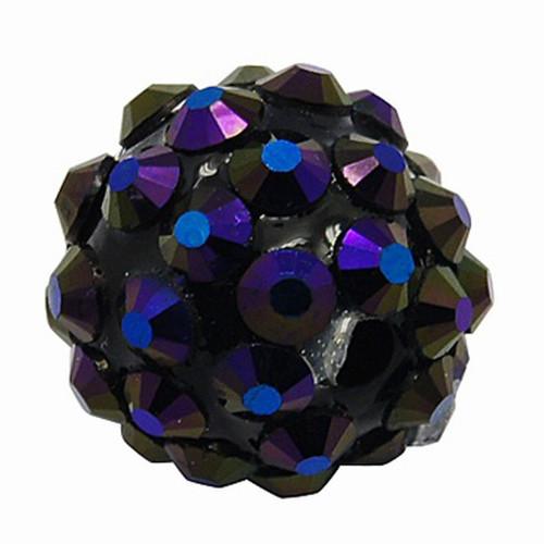 korálky s kamínky/ akryl / AB modrý / 14mm / 1ks