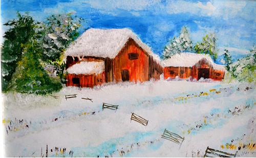 Zima - zasněžená chaloupka - akryl  A4
