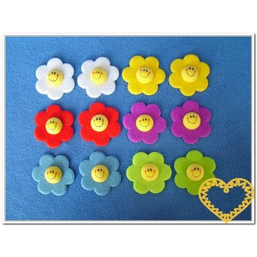 Šesticípé kytky s obličejem mix - 12 kusů