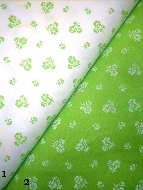 Bavlněná látka zelená - drobné kytičky