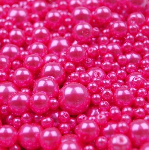 Voskované perly mix - růžová, 50g - 38,- Kč