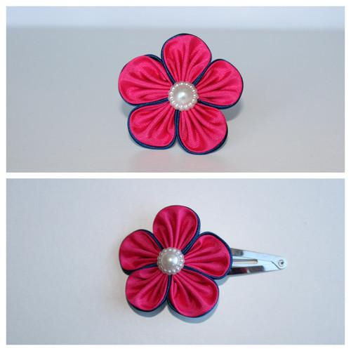 Sponka do vlasů - růžovomodrý květ