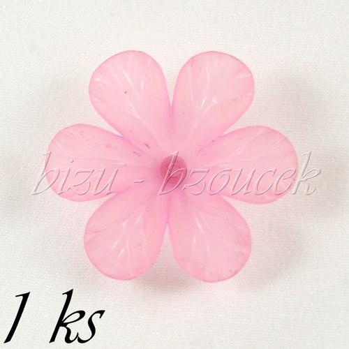 Růžový akrylový květ - 1ks