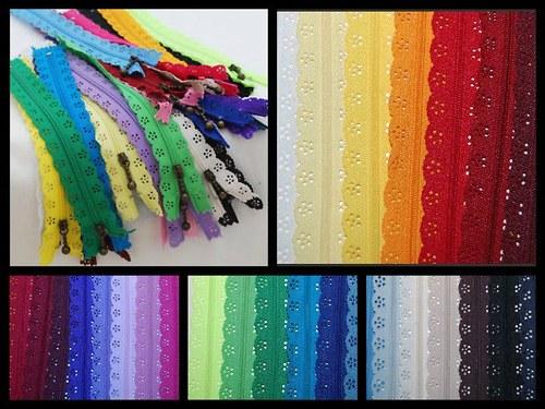 Krajkový zip- různé barvy