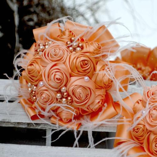 Látková kytice pro družičky nebo maminky Broskvová
